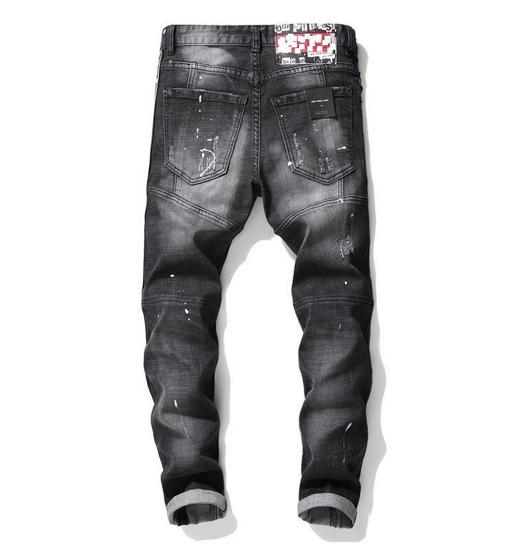 Moda Özgü en kaliteli erkek dikiş lüks Jeans Tasarımcı Erkekler Jeans delik Ünlü Marka Slim Fit Mens Baskılı Jeans Biker Denim Pantolon 1011