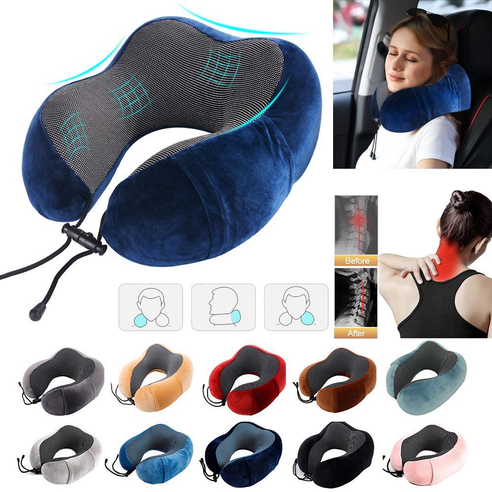 Travel U Shape Pillow Memory Foam Neck Pillow for Airplane Car Flight Head Chin Support Cushion Office Nap Pillows for Sleep