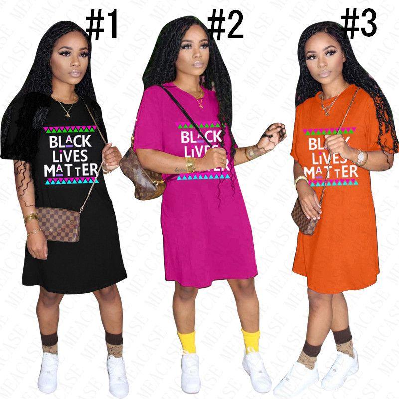 2020 NERO VITE Dress MATERIA comode camicia Designer per le donne della signora di estate allentati Lettere Prining Abiti casual Sport Beach Panno D61803