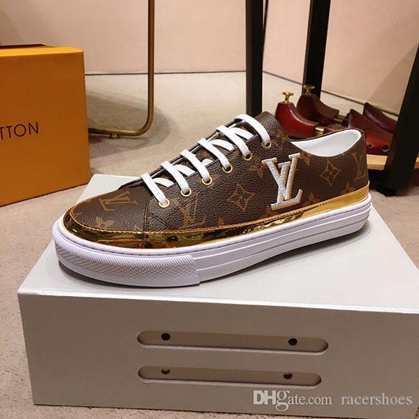 sapatos da moda tênis de cano alto treinador treinador tênis desenhador Impresso couro Carta Lace up tênis para homens de negócios