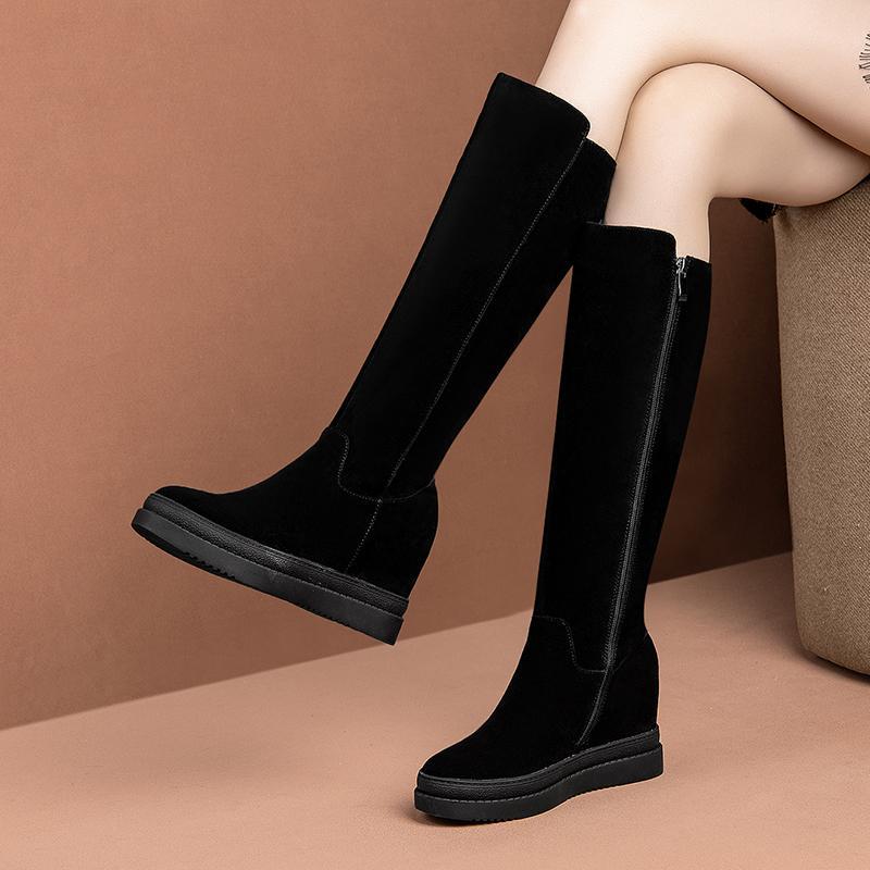 뜨거운 여성의 정품 스웨이드 lether 쐐기 플랫폼 겨울 따뜻한 플러시 무릎 높은 부츠 블랙 슬림 여성 편안한 긴 부츠 신발