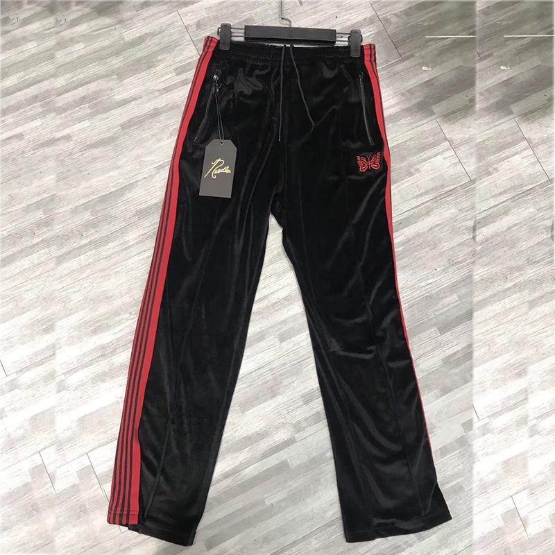 Hip Hop AWGE Needles Sweatpants Drawstring Joggers Butterfly Embroidery Ribbon Striped Velvet Needles AWGE Sweatpants Trousers