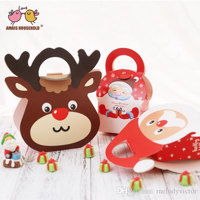 100pcs/lot Potable Santa Claus and Elk Theme Candy Cookie Gift Packaging Box For Christams Decoration Wholesale SG181904