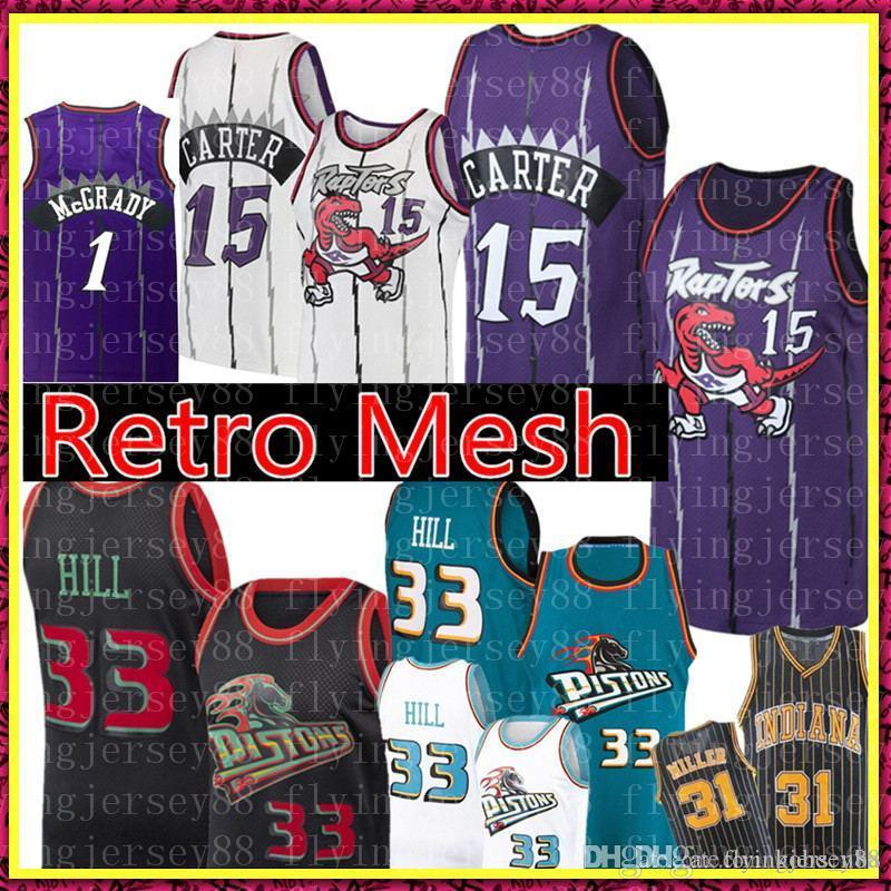 NCAA Vince Carter 15 Université Jersey Grant 33 colline Retro Mesh Tracy McGrady 1 Reggie Miller 31 Basketball Maillots Hommes S-XXL