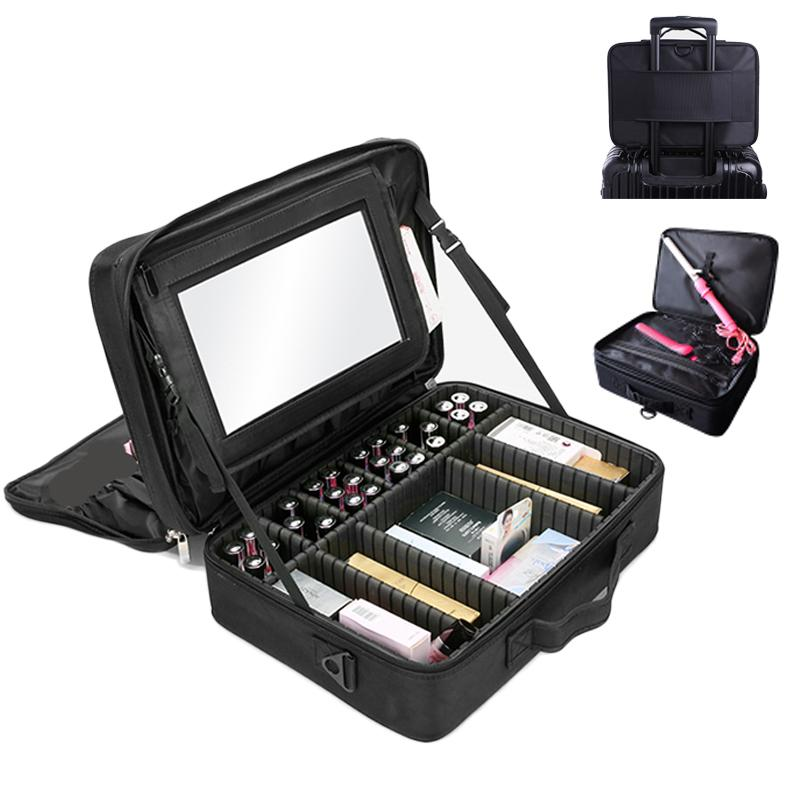 2019 Professional Makeup Organizer Portable Travel With Mirror Cosmetic  Storage Box Large Capacity Make Up Bag Beauty Nail Tool Case From Pagoda,