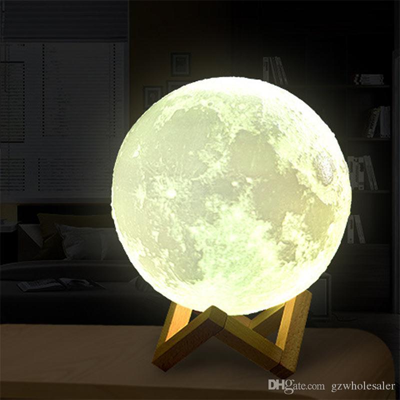 3D Print USB Rechargeable Lampe de Lune 16 Couleurs Changeables LED Nuit Moonlight Creative Touch Commutateur Lune Lumière Pour La Maison Décoration Cadeau Lights