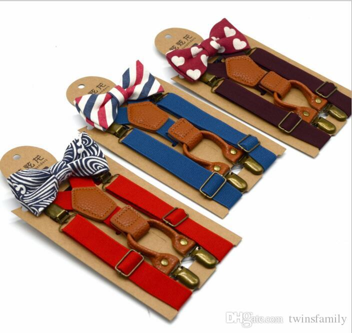 Kids Suspenders Bow Set Baby Elastic Y-back Braces Boys Genttleman Boutique Suspenders Print Bowtie Girl School Suspenders Accessories D259