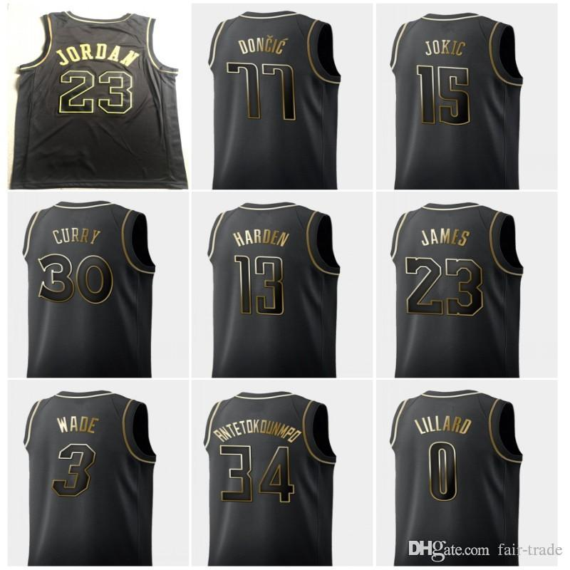 san francisco 2d982 53ee9 2019 2019 Black Gold 23 Michael Jerseys Bulls Stephen 30 Curry Luka 77  Doncic Giannis 34 Antetokounmpo James 13 Harden Black Honorary Edition From  ...