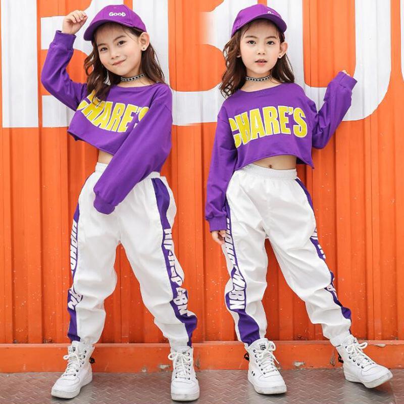 Stage Wear Kid Cropped Sweatshirt Shirt Jogger Pants Hip Hop Dancing Outfits Jazz Dancewear Costumed Girls Ballroom Street Suits