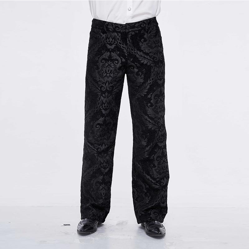 Victoriano pantalones largos diablo manera de los hombres de Steampunk retro bordado pantalones ocasionales partido gótico del punk formales pantalones de pierna ancha