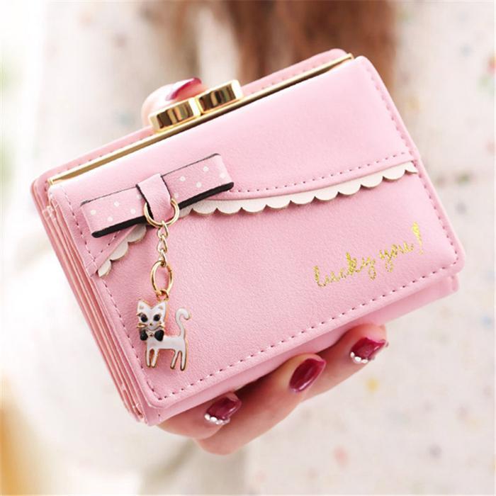 Short Wallet Female Schloss Geldbeutel Frauen Geldbörse Wallets Mini Carteira Feminina Mode Dame Geldbeutel ID-Kartenhalter Taschen Note