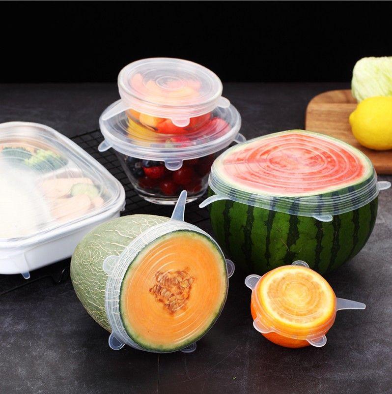 6 قطعة / المجموعة reusable السيليكون تمتد أغطية الغذاء الغذاء الحفظ سيليكون امتداد أغطية قبعات ل اكسسوارات المطبخ الغذاء