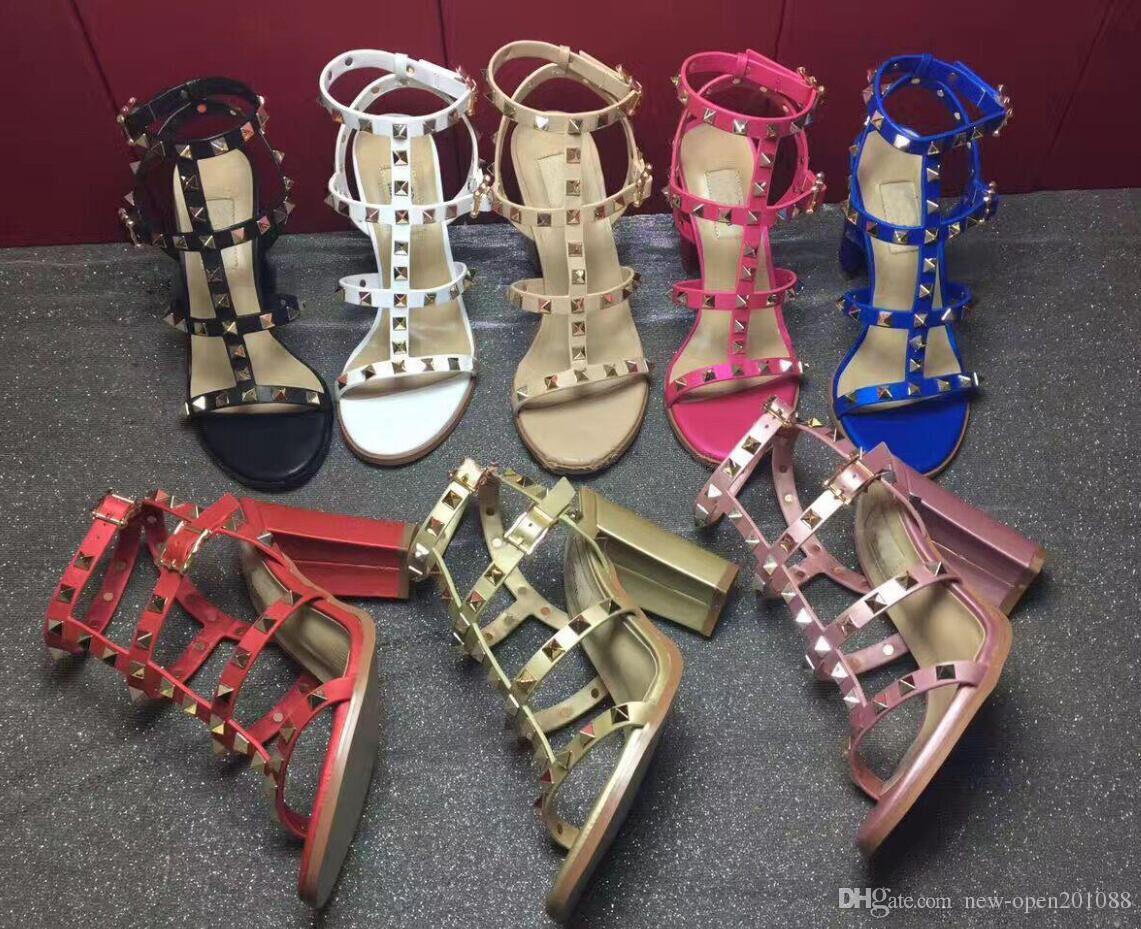 Più nuovo 2019 luxurybrand design in pelle da donna con borchie Sandali Slingback pompe da donna sexy tacchi alti 9.5 cm moda rivetti scarpe 8 colori