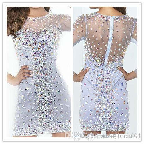 Bling Bling Beaded Crystal Rhinestones Short Cocktail Party Dresses With Long Sleeves Above Knee Crew Neck Blue Mini See Though Prom Gowns