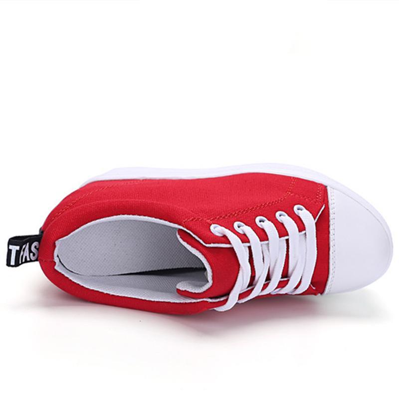 Горячая Сбывание Холст обувь Женщина Платформа Цельнолитные Обувь Hidden Высота каблука Увеличение Повседневная обувь женский chaussure Femme