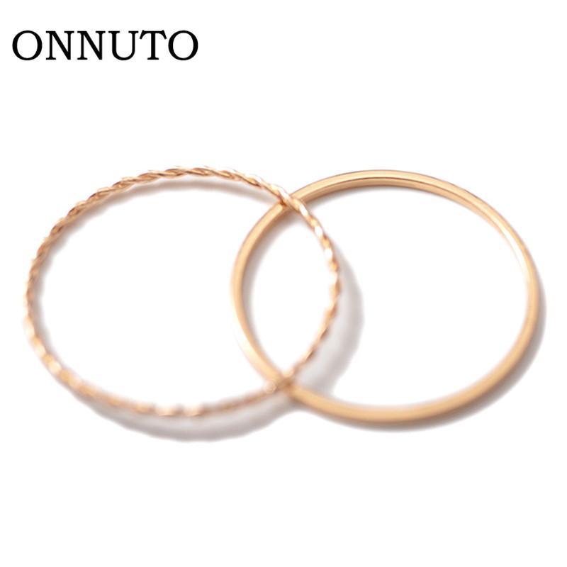 2019 New Gold Twist Geometria 2 pezzi anello di temperamento Chic sottile semplice anello dell'articolazione Semplice donna coreana Belle Tail Set