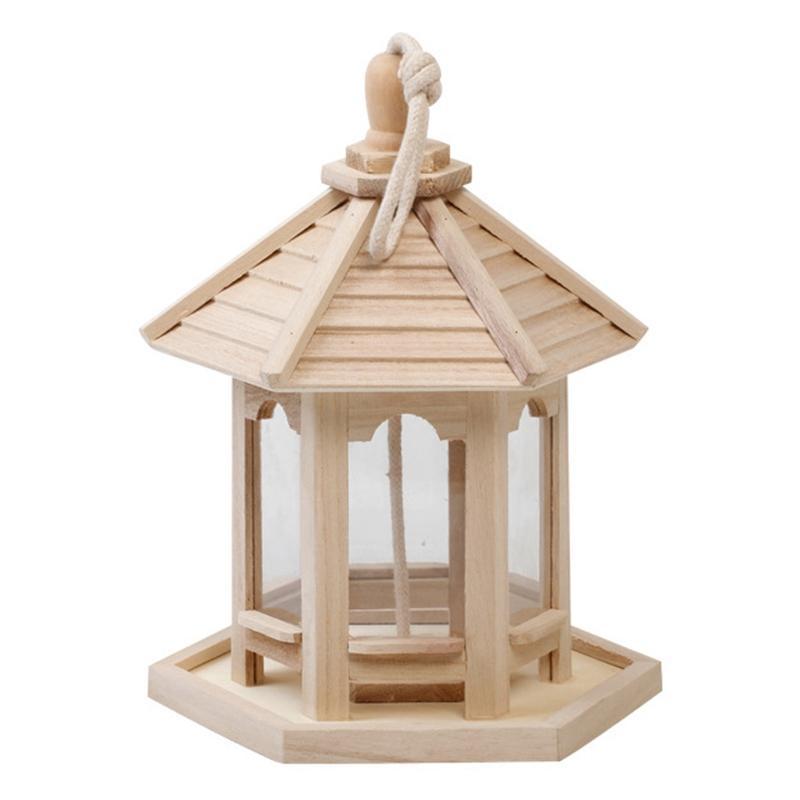 Çatı Şeklinde Döngü Ev Bahçe Yard Açık Pet dekorları Hexagon ile YENİ-Ahşap Kuş Besleyici Evi Birdhouse Asma Yuvası