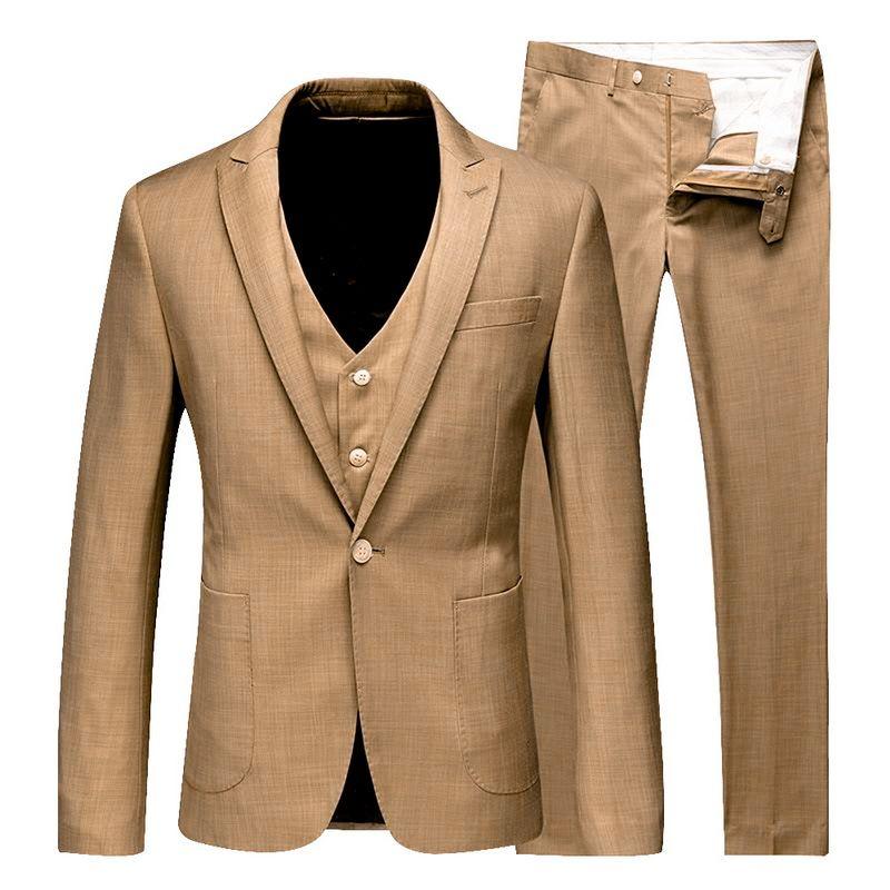 2019 Business Slim Fit Blazers Suits Formal Wedding Party Blazers Sets (Jacket+Pant+Vest) 3 pcs Spring Men Classic Suit Sets