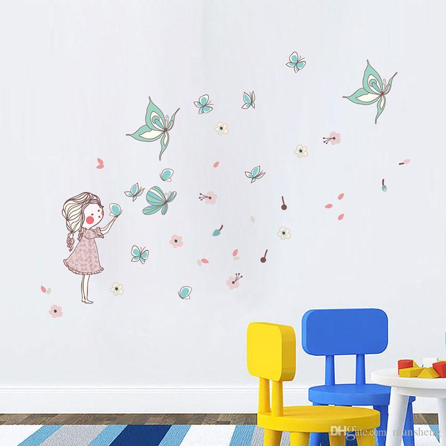 Stickers Muraux Chambre Bébé acheter cartoon petite fille papillon volant creative stickers muraux  chambre pour enfants de la maternelle de la mère et de la série bébé  stickers
