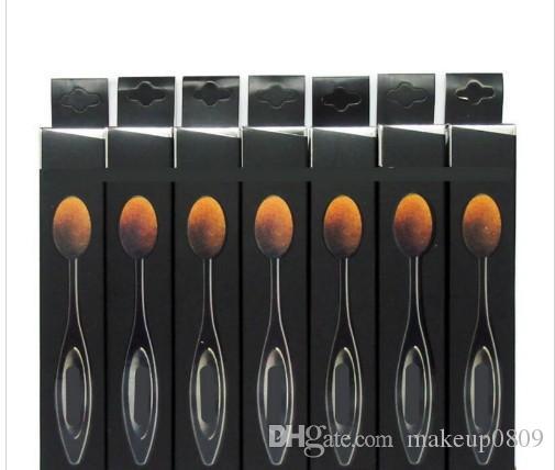 Marka Kutusu Pro Krem Puff Pudra Kozmetik Diş Fırçası Eğrisi Fırça Siyah Oval Güzellik Araçları ile yeni kozmetik Diş Fırçası Makyaj Fırçalar U Make