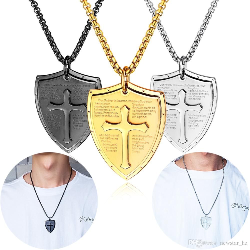 Unisex Shield Verse Cross Pendant Necklace Women Men Stainless Steel Jewelry Statement Necklaces Religion Jewellery Engagement Wedding Gift