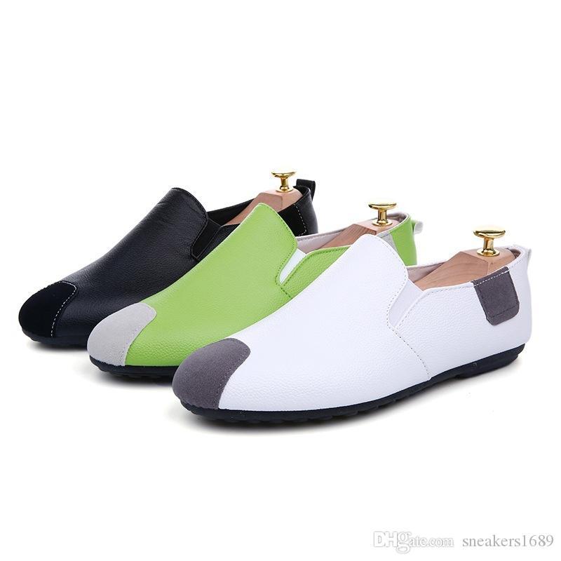 Männer leder loafer schuhe 2019 neue Männer Freizeitschuh Licht Frühling Sommer Flache Fahrende Müßiggänger Schuhe Für Mann Heiße Verkäufe X129