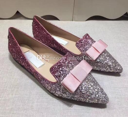 Venda quente-Womens Pointy Toe Flats Com Arco Rosa Flamingo Bronze Loafers Bailarinas Alpercatas Deslizamento No Vestido Casual Ballet Sapatos Baixos