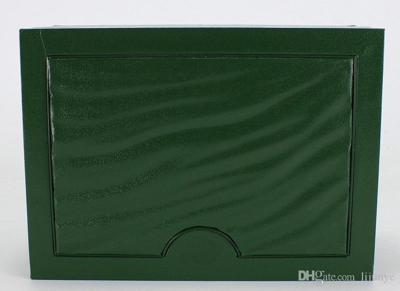 Trasporto libero orologio di lusso mens per rolex scatola di orologi originali ornamenti esterni womans worns boxes uomini orologio da polso verde scatola booklet card 116610