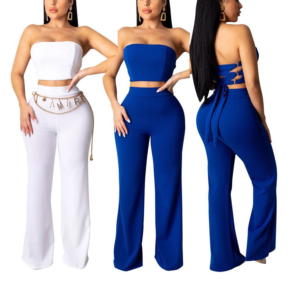 2 Pants Pedaço Define Mulheres Two Piece Set Top e calças Roupa resultados: Treino Roupas F0105 Multi-Cor Choices