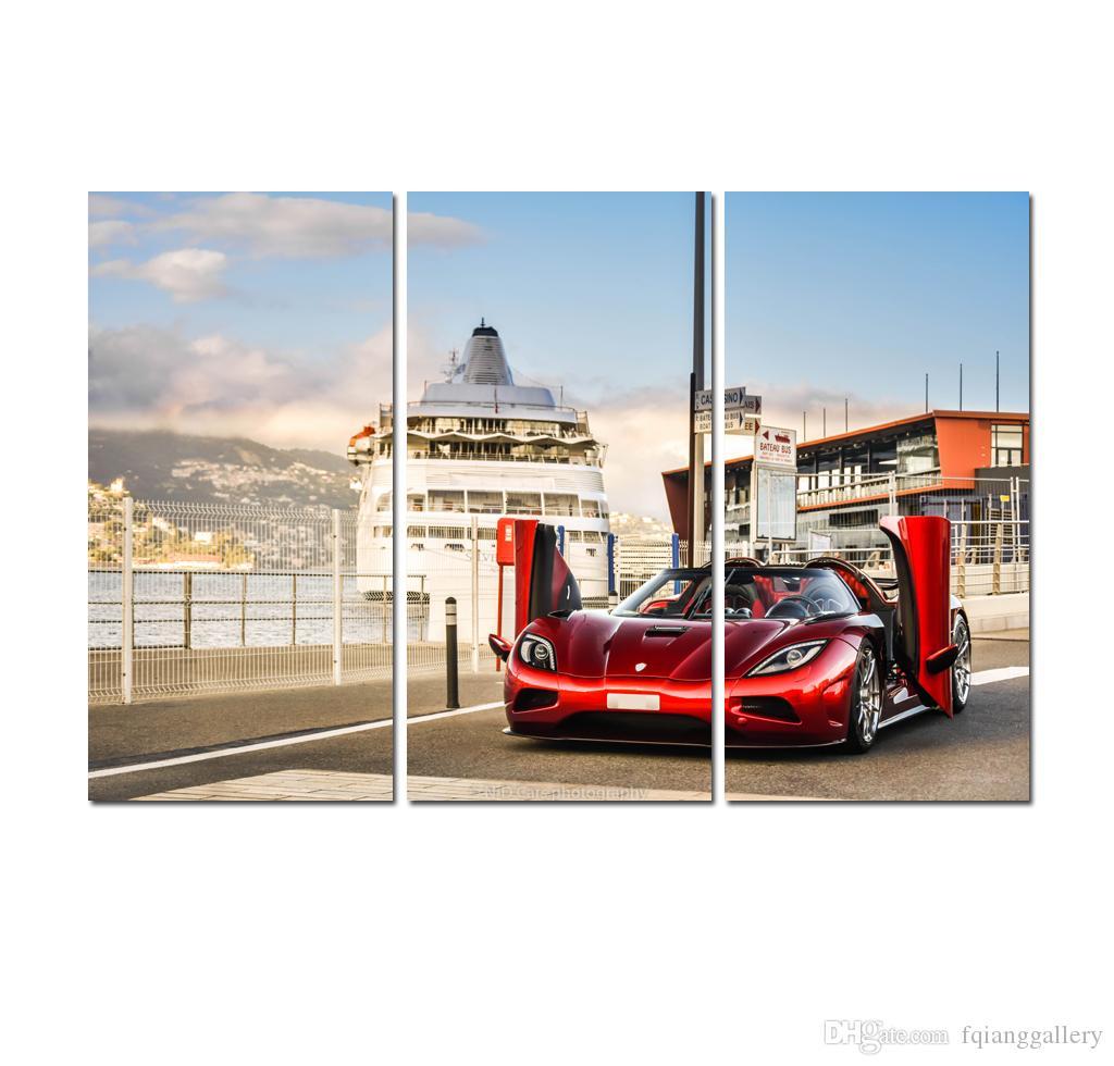 2020 Super Cars Painting 3 Panels Canvas Print Dream Car Landscape