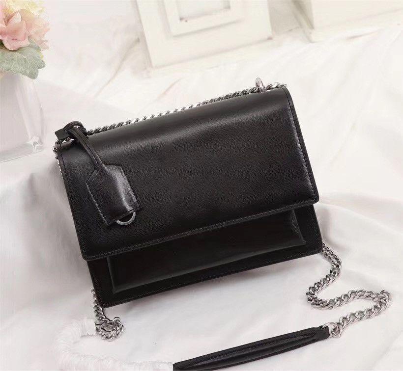 높은 품질의 플랩 가방 고급 디자이너 핸드백 SUNSET 원래 가죽 여성의 어깨 가방 패션 매체 크로스 바디 가방