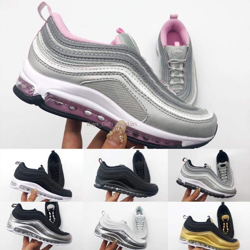 2019 MAX OG Kids Boys Girls Casual Fashion Sneakers Silver Bullet Metallic Gold Silver Athletic Walking Sports Running Shoes