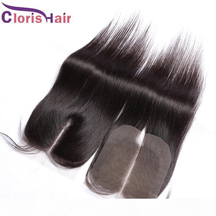 Brazillian Lace Top Closure Piece Silky Straight Cheap 4x4 Brazilian Human Hair Lace Closures Free Middle Three Way Part Bleached Knots