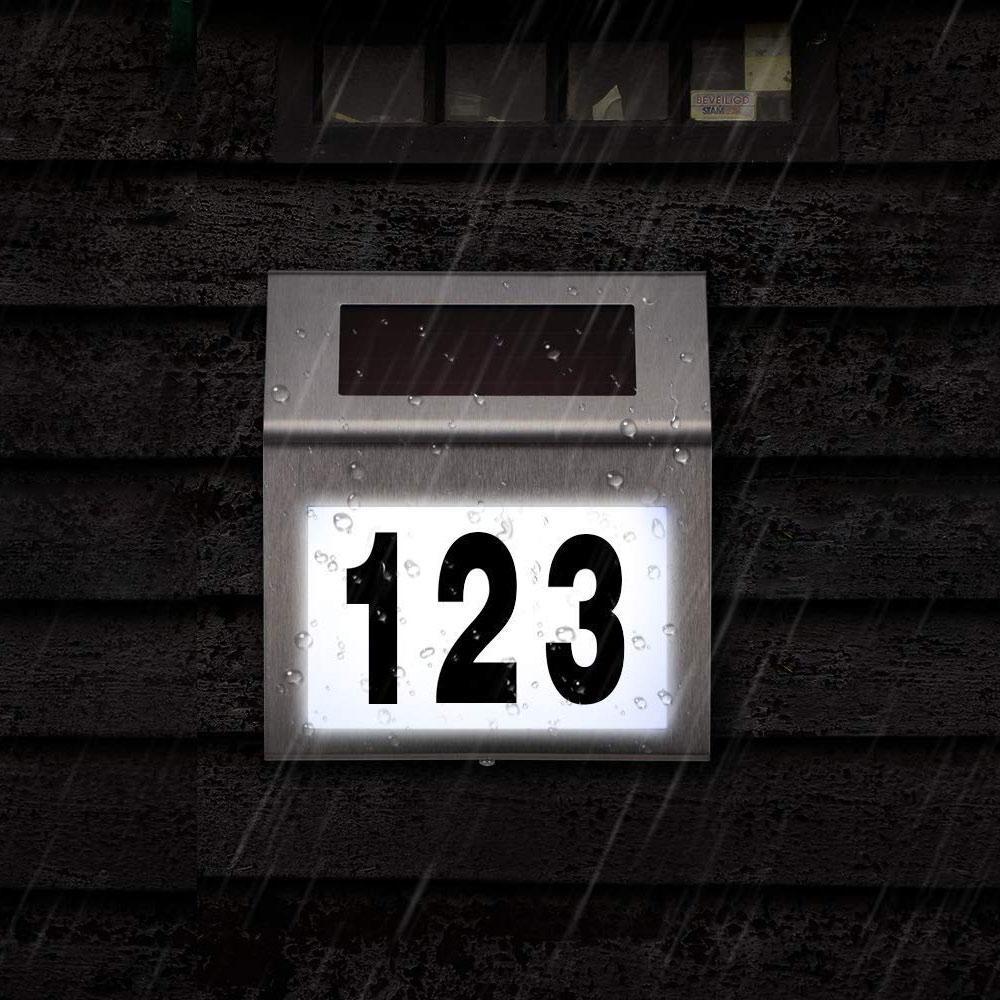 أرقام منزل عنوان الشمسية عدد افتات مناسبة لغرفة منزل الفولاذ المقاوم للصدأ لوحة ترخيص ضوء مناسبة للشارع في الهواء الطلق يارد