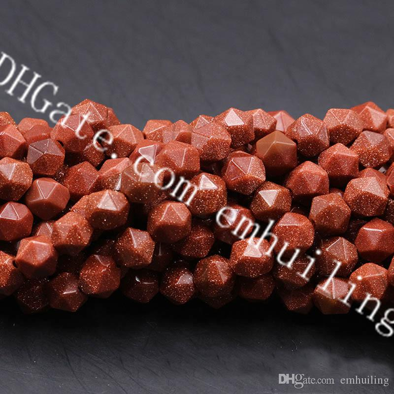 10 Strands Synthetic Gold Sandstone Diamond Cut Beads Gold Faceted Sand Stone Nugget Beads Shiny Star Cut Manmade Crystal Loose Beads 6-12mm
