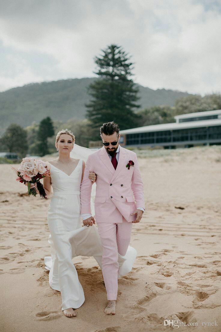 Latest Coat Pants Designs Linen Men Suits Groom Beach Wedding Tuxedo Summer Casual Bridegroom Suits Man Blazer 2Piece Bridegroom Jacket