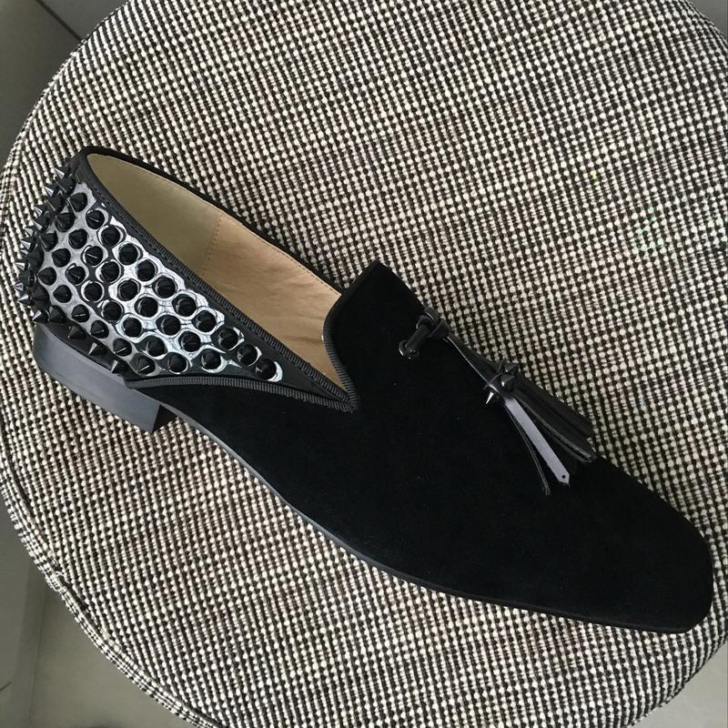 Hot Sale-cristal vermelho oxfords fundo designer de homens quadrados dedo do pé glitter preto com borla de volta picos loafers vestido de noiva sapato