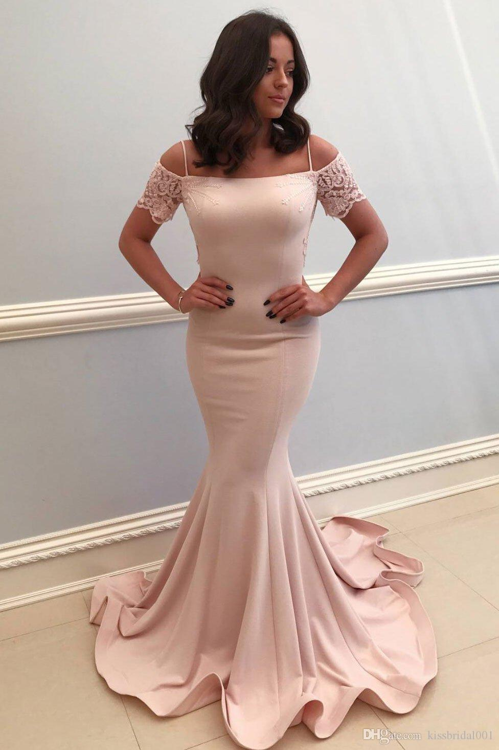 2019 Mermaid Prom Dresses Long Off the Shoulder Short Sleeve Evening Gowns Cheap Women Cocktail Party Dress Celebrity Formal Gown