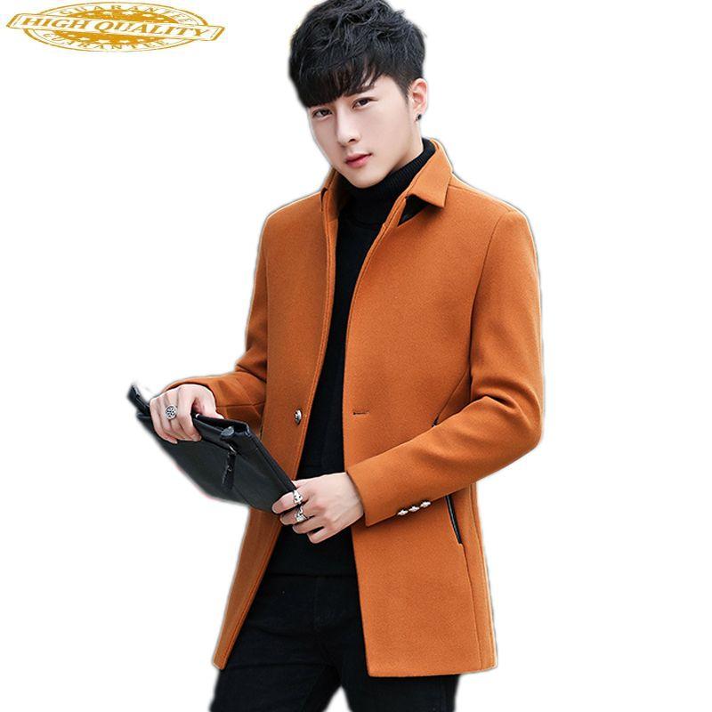Casaco Outono Inverno Casacos de lã de homens Man Magro coreana Mens Coats Bonito Jacket Overcoat Abrigos Hombre KJ265