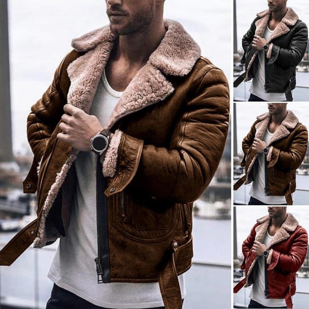 Invierno hombres de cuero de piel de capa de la chaqueta delgada de cuero de imitación de la motocicleta de la PU Faur chaqueta de manga larga del invierno Prendas Coats