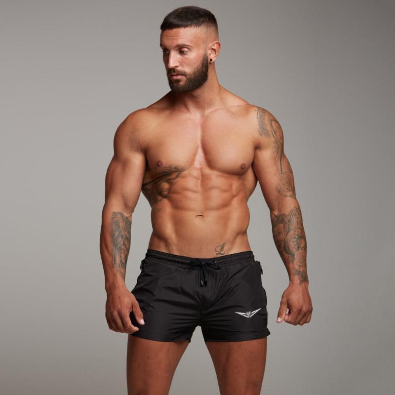 Irmão Verão Novo Estilo dos esportes dos homens da aptidão muscular ocasional de secagem rápida Shorts bolso com zíper Praia Shorts exercício de corrida