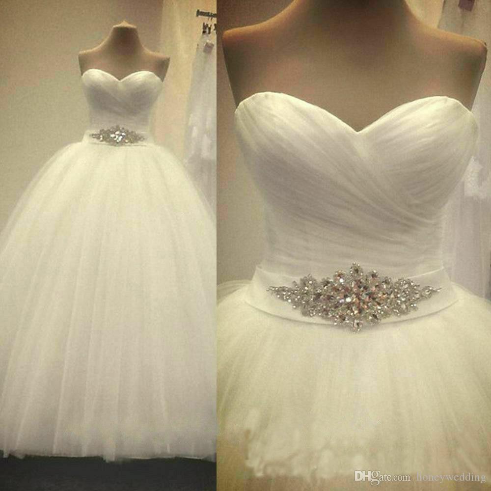 Простые свадебные платья Дешевые Милая плиссированная плиссировка из тюля свадебное шариковое платье белое слоновая кость свадебное платье 2019 хрустальное свадебное платье с бисером