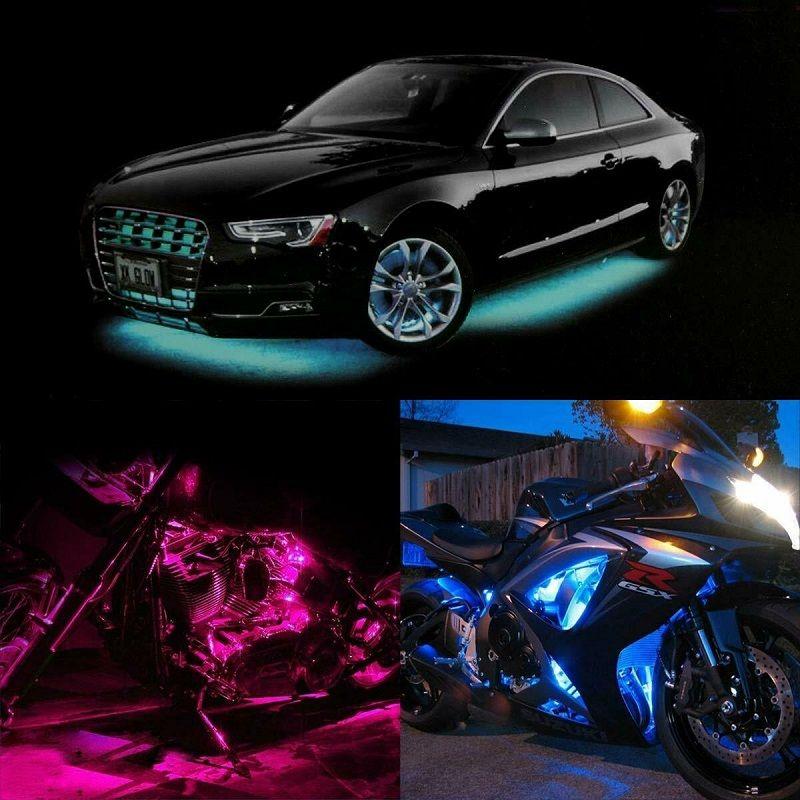 Fabrik 12st Motorrad RGB LED Neon Streifen-Lampe unter Glow Leuchtbänder Flexible Wireless Remote wasserdicht mit Fern