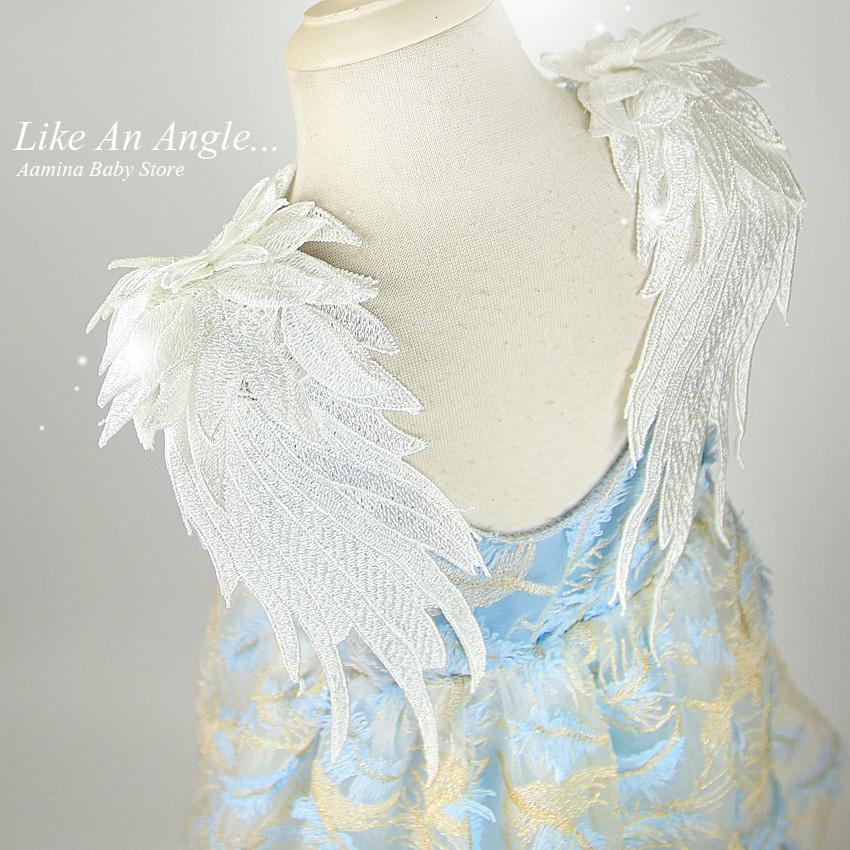 Comme un ange. Wings 3D plume broderie enfant en bas âge Bébés filles Robe, robes d'été princesse de soirée de mariage d'enfants pour les filles 1-10 Y CJ191202