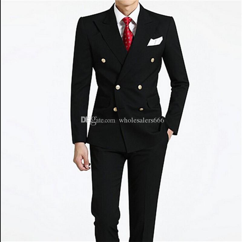 Esmoquin de novio de doble botonadura Negro Best Man Peak Lapel Padrinos de boda Hombres Trajes de boda Novio (Chaqueta + Pantalones + Corbata) W202