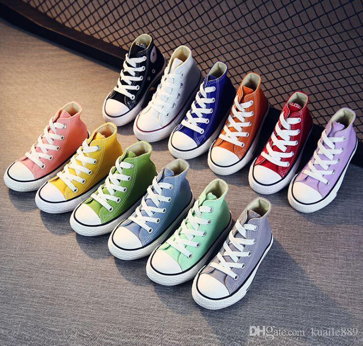 Unisex Çocuk Erkek Çocuk Botları için Tuval Ayakkabı Kızlar Mavi / Siyah / Beyaz / Kırmızı Öğrenci Rahat Ayakkabılar Toddler Düz Ayak Bileği Çizmeler, boyutu 20-38