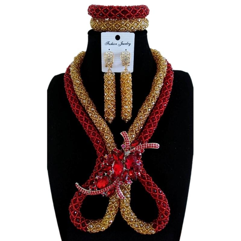 Дудо Индийский комплект ювелирных изделий свадебное вино и золотые украшения набор 8 Дизайн африканских бусин шеи;туз набор для женщин Бесплатная доставка 2018 Новый