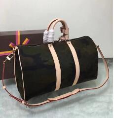2018 nuevos hombres y mujeres de la moda viajan bolsa de lona bolso de la marca de equipaje grande del diseñador bolsa de deporte de capacidad plata cremallera 55CM
