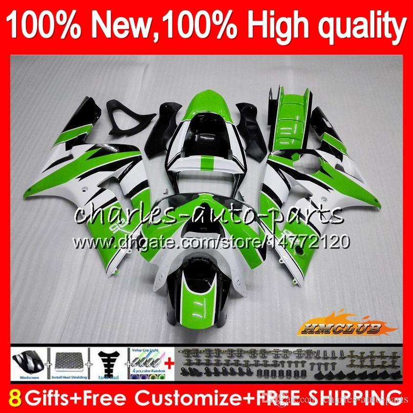 Cuerpo para Kawasaki 600cc ZX600 ZX636 ZX6R 03 04 636 36HC.0 ZX 6R ZX 6R 03 04 ZX636 ZX600 ZX6R 2003 2004 Completo kit del carenado del verde al rojo vivo