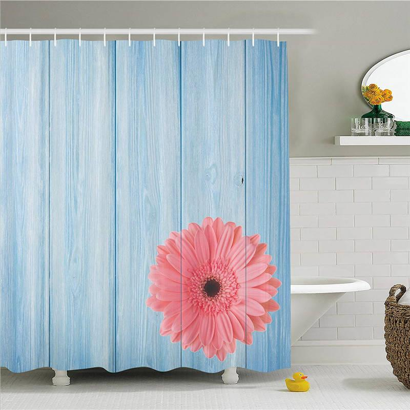 Rustic Style Decor Shower Curtain Set, Turquoise Vintage Barn Wood with Hot Pink Daisy Flower Retro Pop Artsy Design, Bathroom Accessories